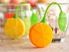 colador infusor silicona para té en hebras naranja