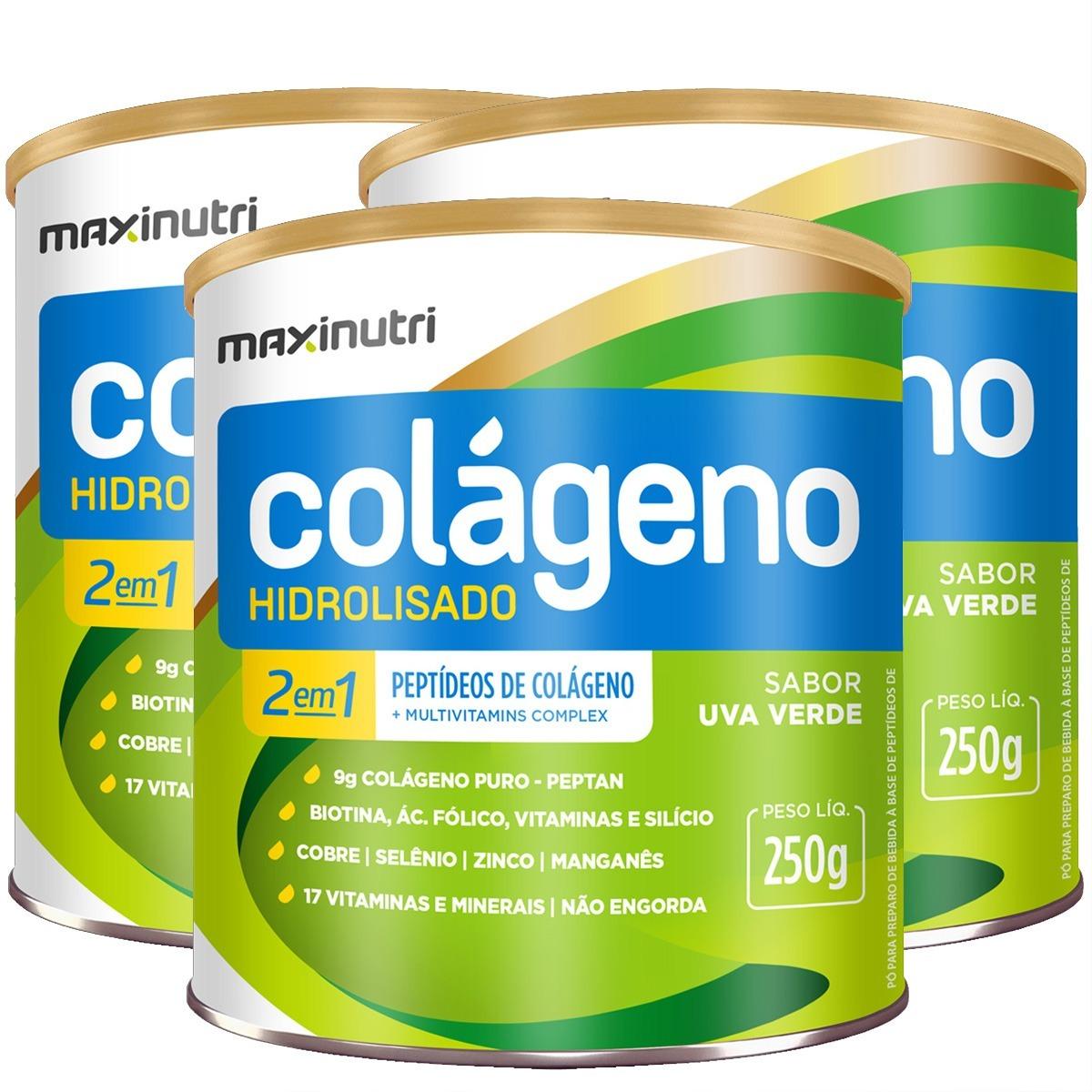 1d033e321 colágeno hidrolisado 2 em 1 uva verde 3x250g maxinutri. Carregando zoom.