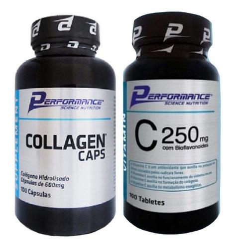 colageno hidrolisado 600mg vit c 250mg performance 100cap