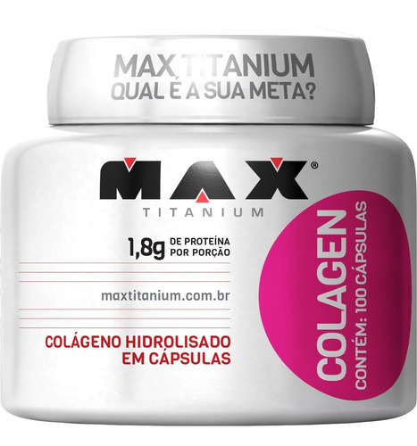 colágeno hidrolisado mulher - 100 capsulas - max titanium