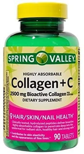 colágeno + vitamina c spring valley 2,500 mg traído usa