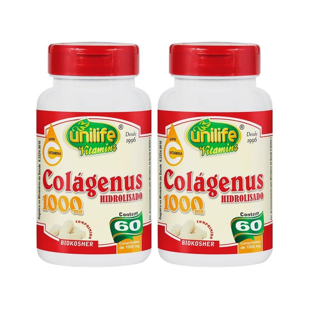 Colágenus Colageno Hidrolizado 1000mg 60 Comprimidos Unilife Kit 2 Unidades