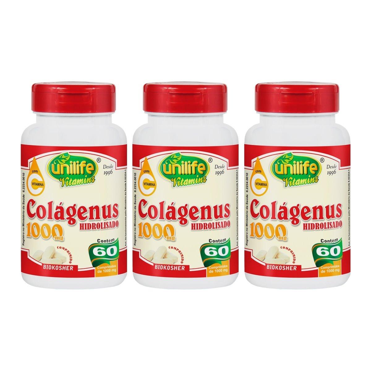 Colágenus Colageno Hidrolizado 1000mg 60 Comprimidos Unilife Kit 3 Unidades