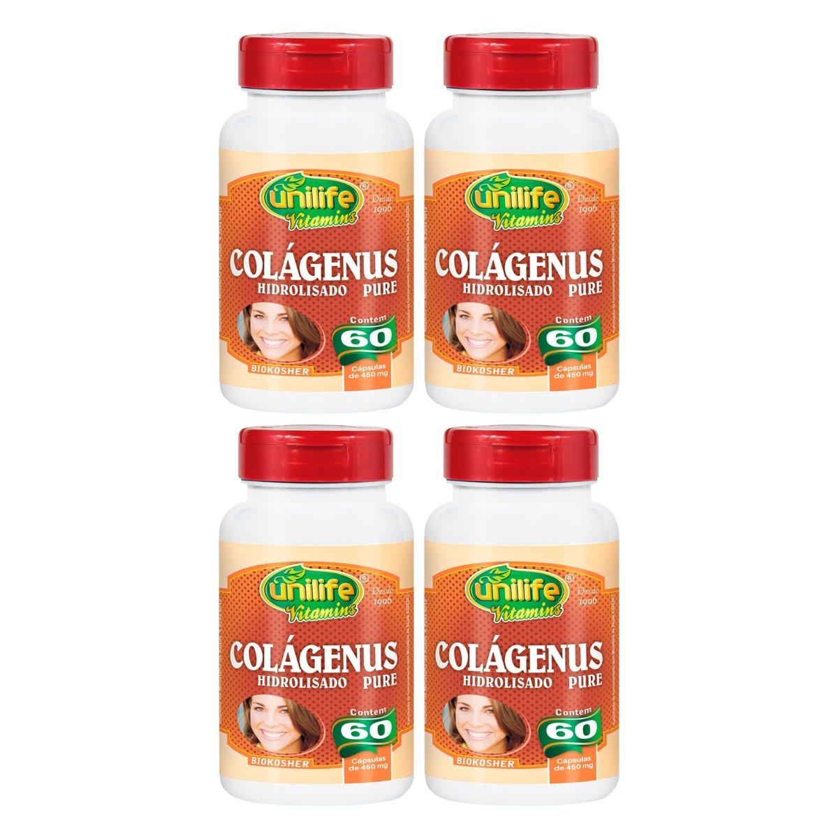 Colágeno Hidrolizado Puro Colagenus 60 Cápsulas Unilife Kit 4 Unidades