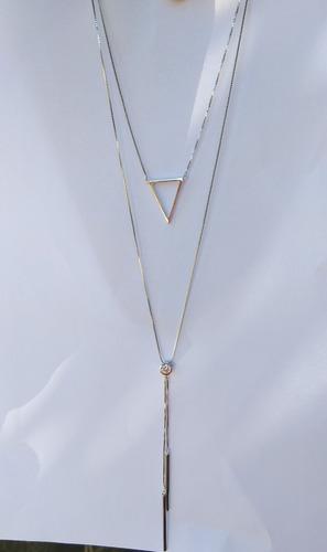 colar 2 em 1 prata 925 com pingente em zircônias brilhante.