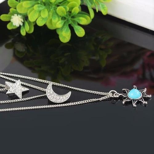 colar 3 camadas boho místico cigana sol lua estrela cristal