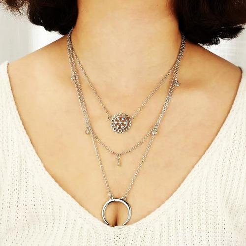 colar 3 camadas boho tribal místico cigana lua flor mandala