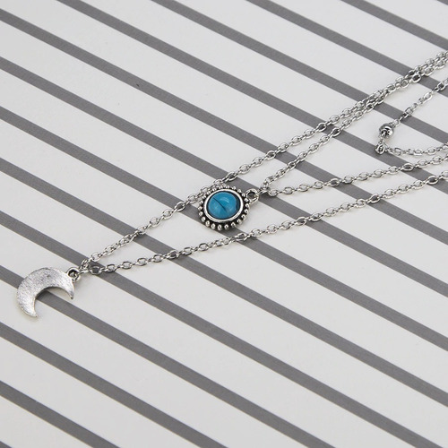 colar 3 camadas místico cigana étnico lua pedra azul hippie
