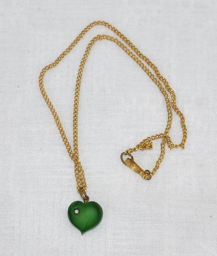 colar 33 colar vintage curto corrente dourada coração verde