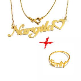 da8640b8ea3db Anel Banhado A Ouro Com O Nome Jesus - Joias e Relógios no Mercado ...