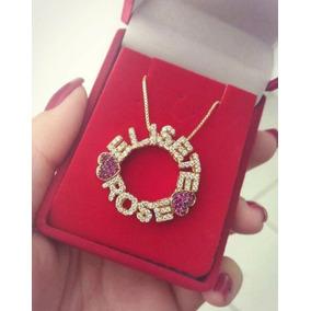 70e6ea0f8d555 Pingente De Nome Personalizado Em Ouro Cravejado Diamante - Joias e ...