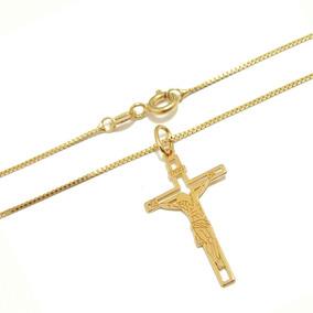 1f65df8718d5f Corrente Feminina Banhada A Ouro Crucifixo - Joias e Bijuterias no ...