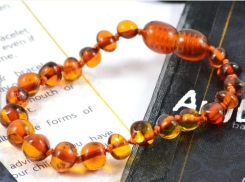 colar ambar + pulseira para bebe - original c/ certificado