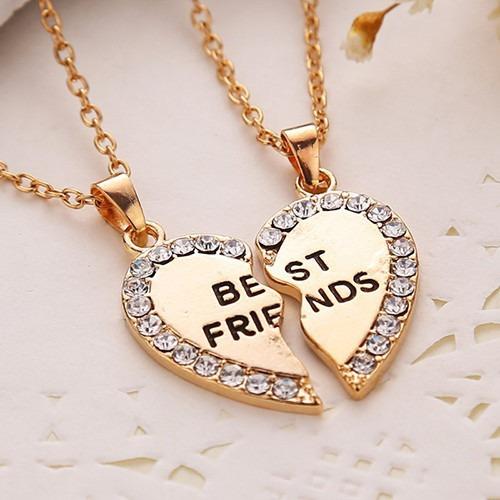 colar amizade best friends melhores amigas folheada ouro