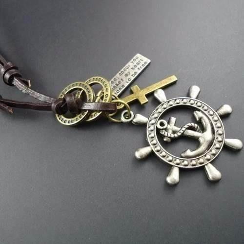 colar ancora leme cruz masculino couro vintage pingente
