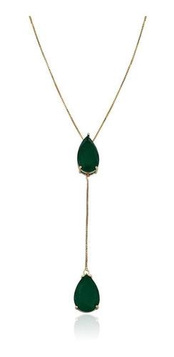 colar andreza mota gravatinha pedra verde esmeralda fusion