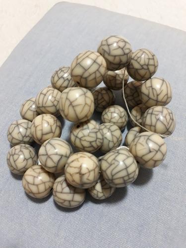colar antigo contas cerâmica craquelada 64cm veja 4 fotos
