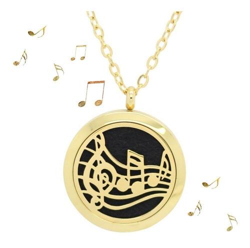 colar aromático aço inox polido música notas musicais dourado