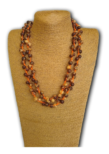 colar artesanal de sementes de açaí ref: 7561