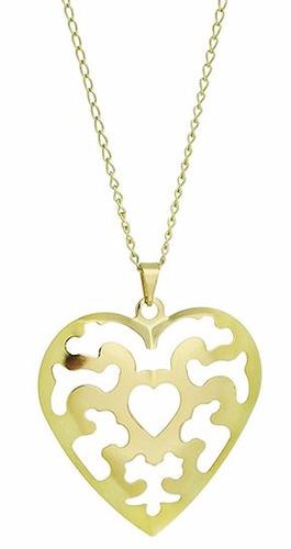 colar banhado a prata em forma de coração chapa abaulada