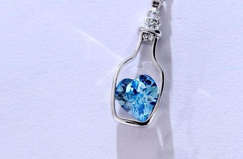 colar banhado a prata, pingente azul coração deriva