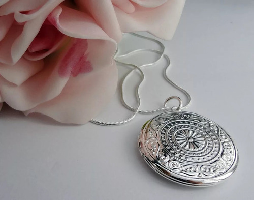 colar banhado á prata relicário para 2 fotos lindo! r 15