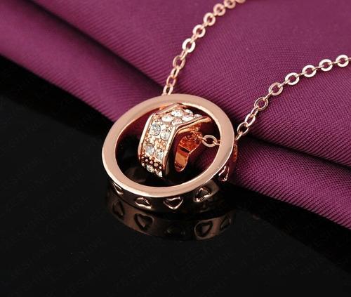 colar banhado ouro 18k e pingente com cristais austríacos