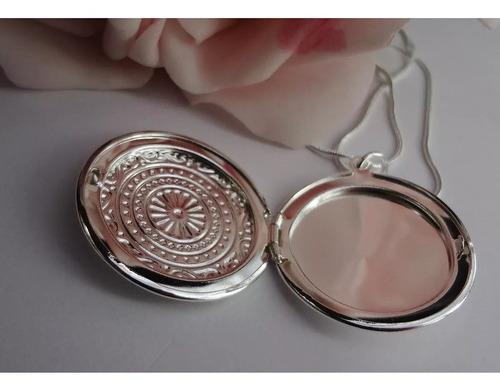 colar banhado prata relicário