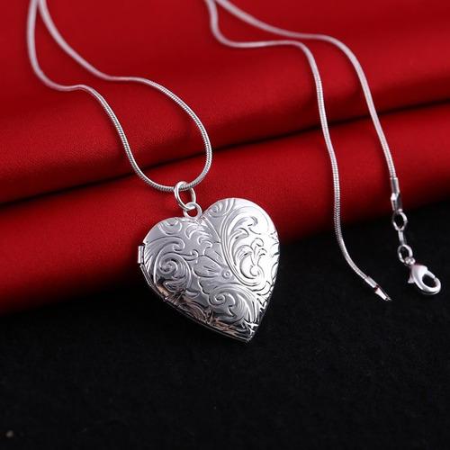 colar banhado relicário coração arabescos para 2 fotos rl 56