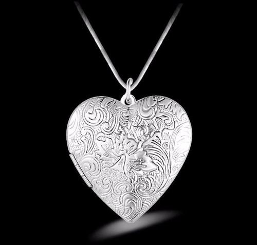 colar banhado relicário coração arabescos para 2 fotos rl 57