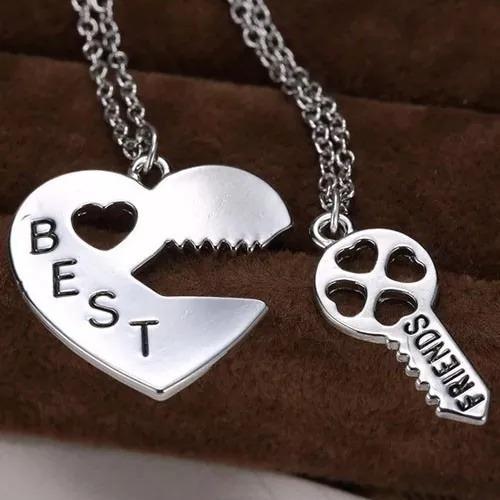 colar best friend amizade melhores amigas coração chave