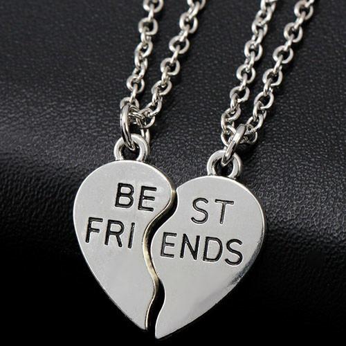 colar best friends cordão amizade duplo 2 amigos prateado