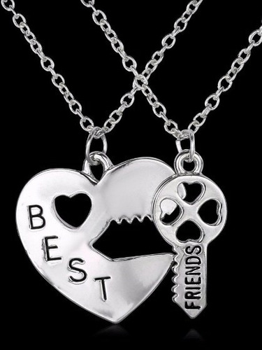 colar best friends unissex coração e chave
