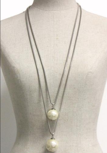 colar bijoux auto padrão pérolas comprido 2 em 1