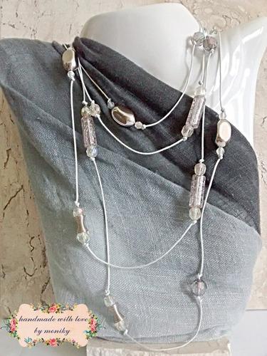 colar bijuteria longo glass cinza e cristal