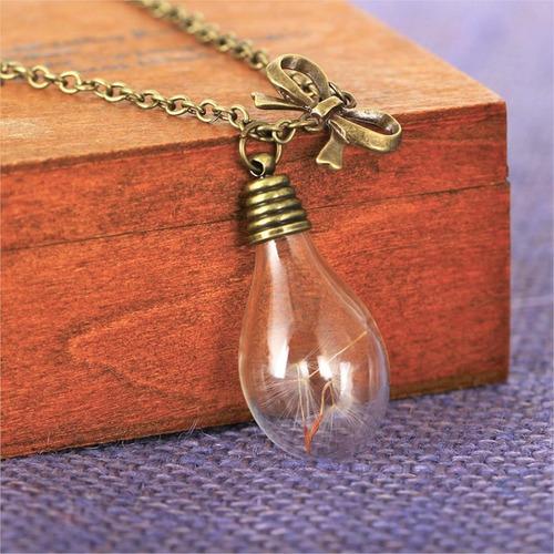 colar boho hippie lâmpada semente dente leão luz esperança