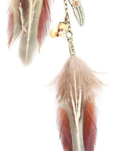 colar boho hippie tribal étnico índio cocar pena pedras