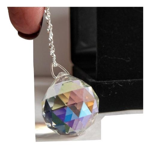 colar bola cristal swarovski boreal cura feng shui em prata