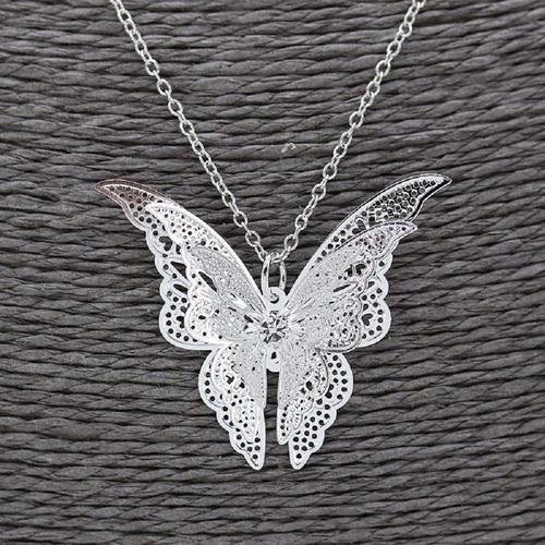 colar borboleta primavera prata grande pingente
