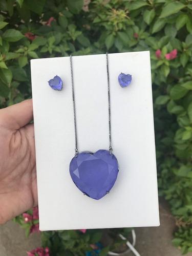 colar brinco coração pedra especial maxi grande ródio br/ngr