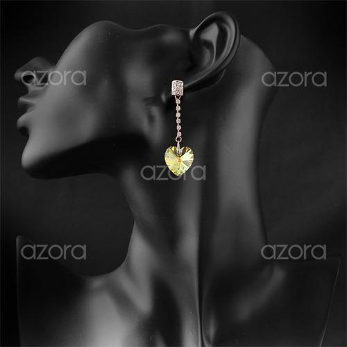 colar + brincos coração folheado ouro 18k cristais zircônia