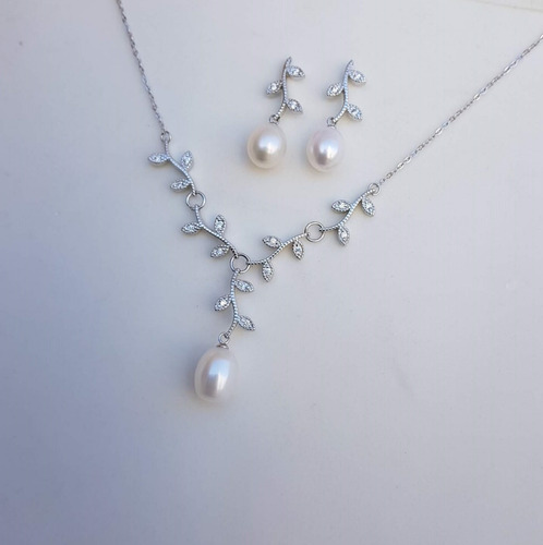 colar brincos pérolas verdadeiras conjunto jóia presente