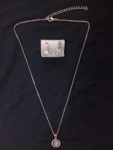 colar c/ pingente e brincos zircônia cúbica / cor rosa ouro