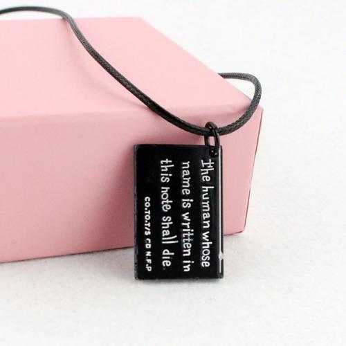 colar caderno death note - cor preto