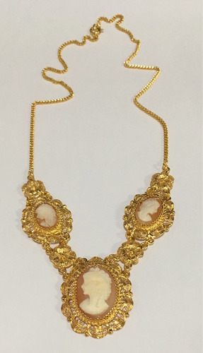 colar camafeu filigrana antigo prata folheado ouro