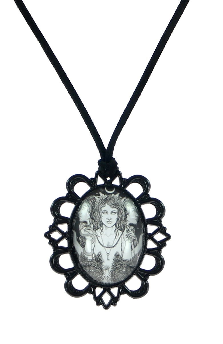 goddess pendant hecate filigree hematite the neckla art by jewellerybybrighid moon