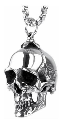 colar chaveiro emblema caveira em aço inox tipo harley