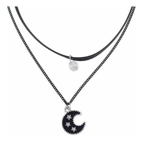 colar choker 2 camadas couro lua estrela cigana pedra preto