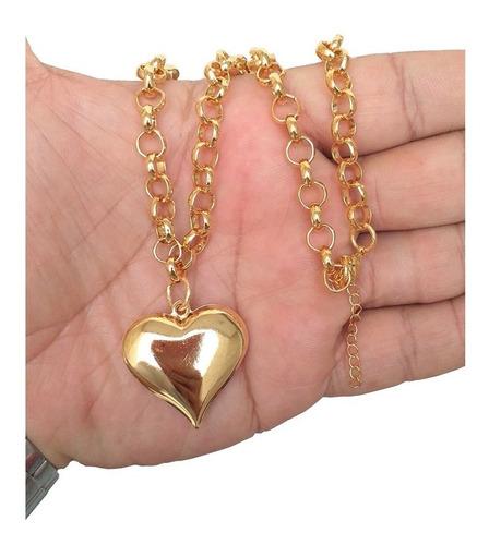 colar choker elo português pingente coração tendência folheado a ouro