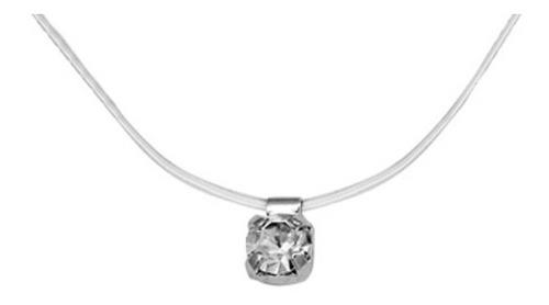 colar choker fio nylon ponto de luz prateado rommanel 130160 lindo brilhante delicado use todo dia qualidade garantida